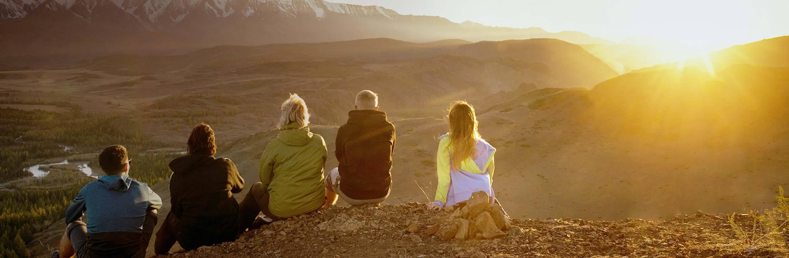 Family admiring mountain views