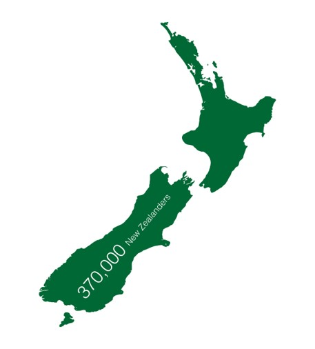 Map icon representing 370,000 New Zealanders with cataracts